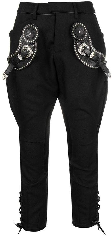buckle embellished trousers