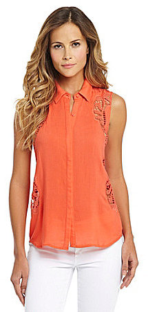 Aryn K Sleeveless Crochet-Cutout Top