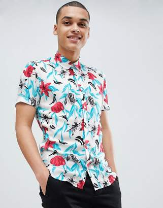 Solid Regular Fit Button Down Shirt in Floral Print