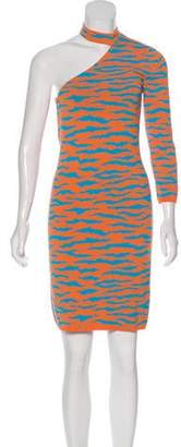 Jeremy Scott Intarsia One-Shoulder Dress