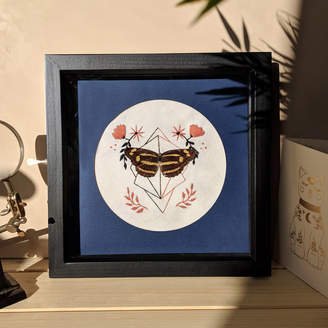 Mariposa London Framed Common Jester Butterfly On Embroidery