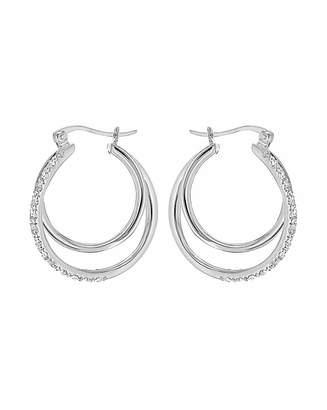 Fashion World CZ Double Hoop Creole Earrings