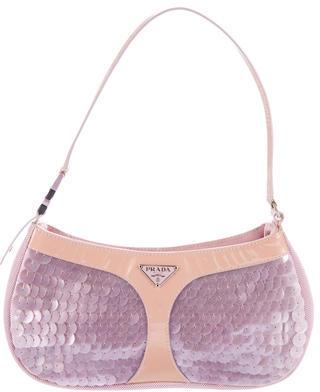 pradaPrada Leather-Trimmed Pailettes Shoulder bag