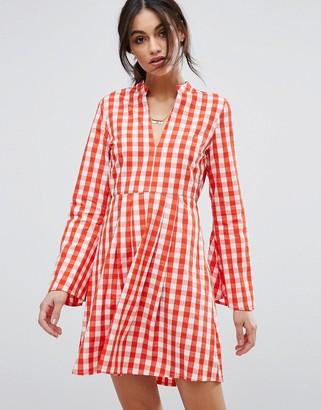 Vero Moda Gingham Flared Sleeve Mini Waisted Dress $43 thestylecure.com