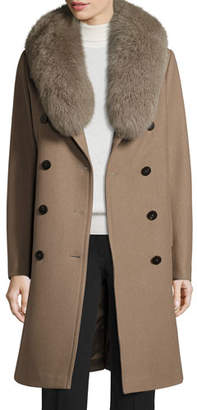 Elie Tahari Long Double-Breasted Pea Coat w/ Fox Fur Collar, Musk