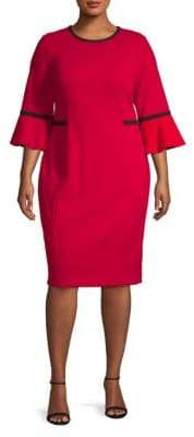Calvin Klein Plus Bell-Sleeve Knee-Length Dress