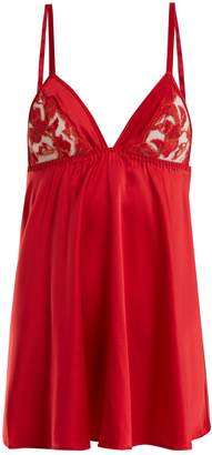 COCO DE MER Inferno lace-insert satin slip dress