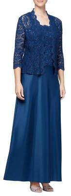 Alex Evenings Two-Piece Embroidered Evening Gown and Jacket Set
