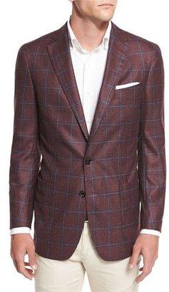 Peter Millar Hawthorne Windowpane Two-Button Sport Coat, Dark Fuchsia Blossom $898 thestylecure.com