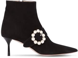 Miu Miu 65mm Embellished Buckle Suede Ankle Boot