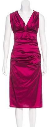 Talbot Runhof Ruched Taffeta Dress