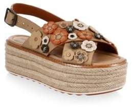 Coach Tea Rose Leather Espadrilles