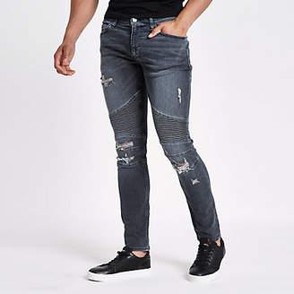 River Island Dark blue Danny super skinny biker jeans