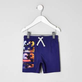 River Island Mini boys Purple 'vibes' print swim shorts
