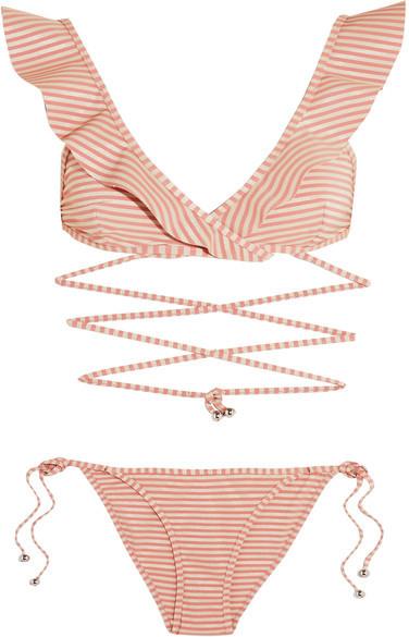 Zimmermann - Caravan Ruffled Striped Bikini - Antique rose