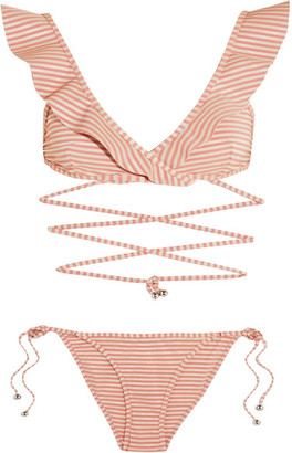 Zimmermann - Caravan Ruffled Striped Bikini - Antique rose $295 thestylecure.com