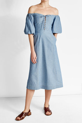 sea Denim Dress with Lace-Up Detail $499 thestylecure.com