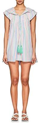 Thierry Colson Women's Eros Striped Cotton Poplin Hooded Short Caftan - Mint, pink