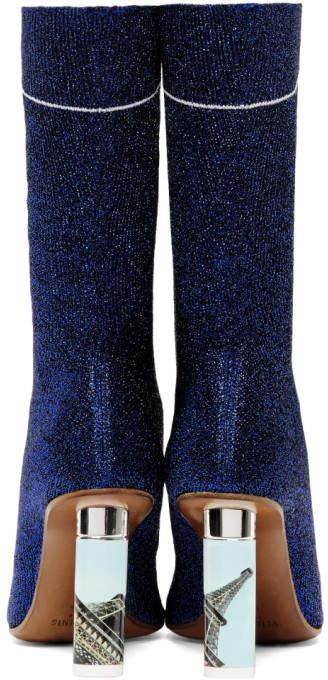 63878eaff11e26 Vetements Blue Lurex Lighter Sock Boots detail image