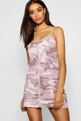 boohoo Camo Zip Front Strappy Denim Dress