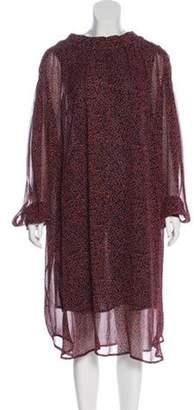 Dries Van Noten Abstract Print Midi Dress Coral Abstract Print Midi Dress