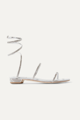 Rene Caovilla Cleo Crystal-embellished Metallic Leather Sandals - Silver