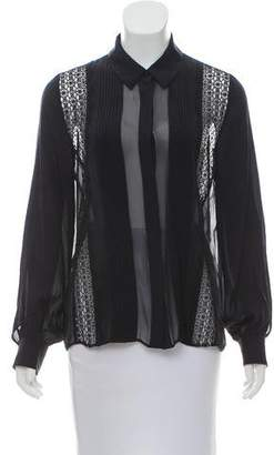 Tanya Taylor Lace-Accented Button-Up Top