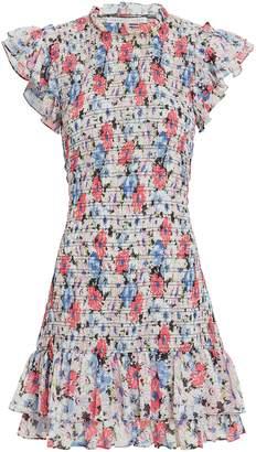 Veronica Beard Cici Ruched Floral Mini Dress