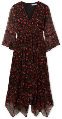 Rachel Zoe Caden Asymmetric Floral-print Silk-crepon Midi Dress - Black