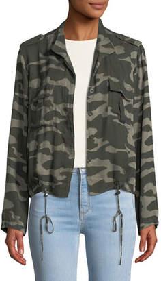 Rails Rowen Button-Front Camo-Print Linen-Blend Jacket