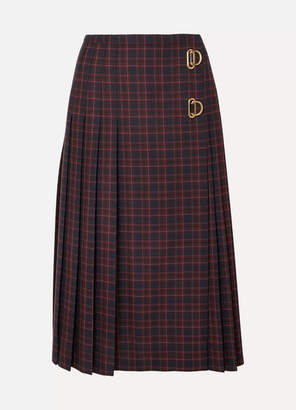 Burberry Pleated Checked Wool Skirt - Navy