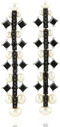 Artisan 18K Gold Pearl Earring With Pave Diamonds & Spinel