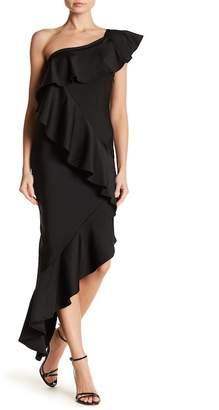 Wow Couture Ruffled Asymmetrical Midi Dress