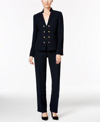Tahari ASL Crepe Military Double-Breasted Pantsuit $280 thestylecure.com