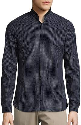 The Kooples Men's Leather Trimmed Sportshirt