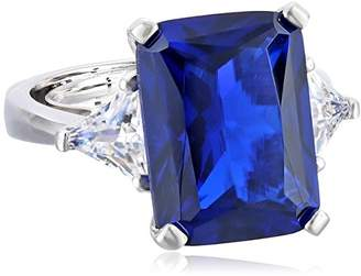 Kenneth Jay Lane CZ by Classic Emerald CZ with Side Trillion Adjustable Ring