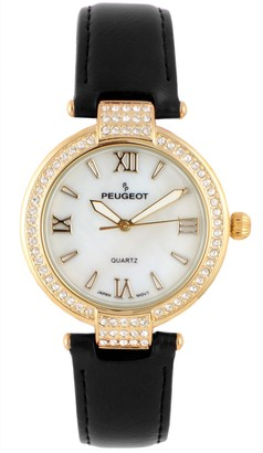 Peugeot Women's 14K Gold-Plated Stainless RoundCrystal Watch