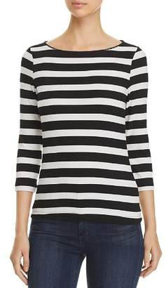 Three Dots Alpine Three-Quarter Sleeve Striped Tee
