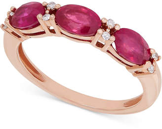 Macy's Certified Ruby (1-9/10 ct. t.w.) and Diamond Accent Ring in 14k Rose Gold