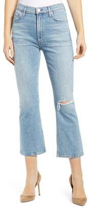 Citizens of Humanity Demy Ripped High Waist Crop Flare Jeans