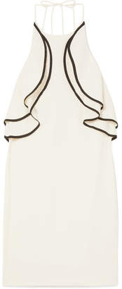 Halston Ruffled Crepe Halterneck Mini Dress - Cream