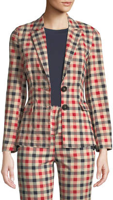 ENGLISH FACTORY Gingham Check Button-Front Blazer