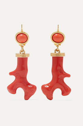 Kenneth Jay Lane Gold-tone, Enamel And Resin Earrings - Coral