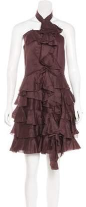 Robert Rodriguez Ruffle-Trimmed Halter Dress