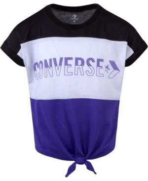Converse Big Girls Colorblocked Tie-Front T-Shirt