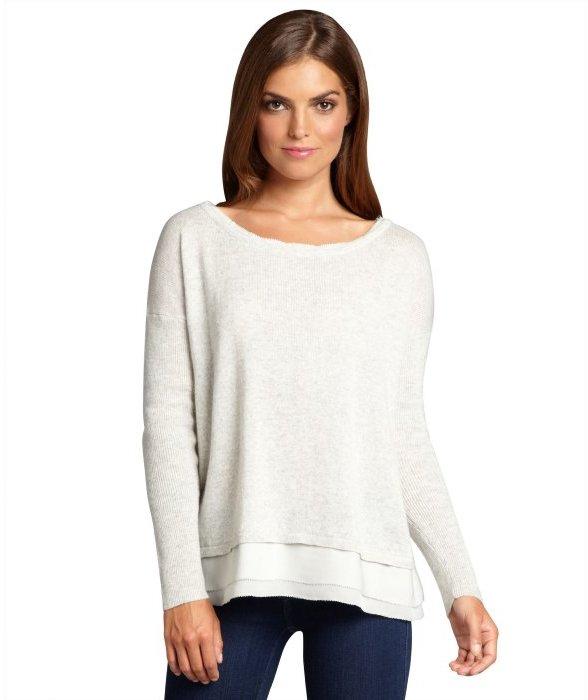 Hayden light grey cashmere silk trimmed boxy sweater