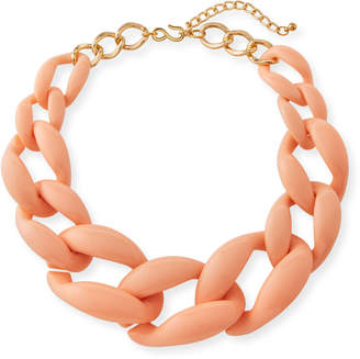 Kenneth Jay Lane Graduated Resin Link Necklace, Peach