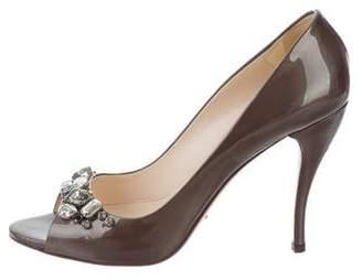 Prada Jewel-Embellished Peep-Toe Pumps