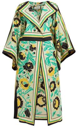 Gucci Alsacienne Print Linen Blend Kimono Coat - Womens - Yellow Multi