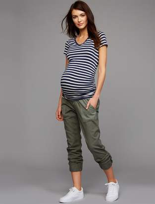 A Pea in the Pod Under Belly Canvas Jogger Maternity Pants